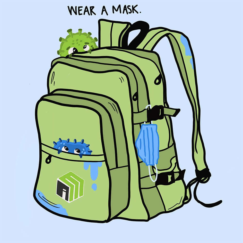 Wear a mask - germs sitting on a school backpack