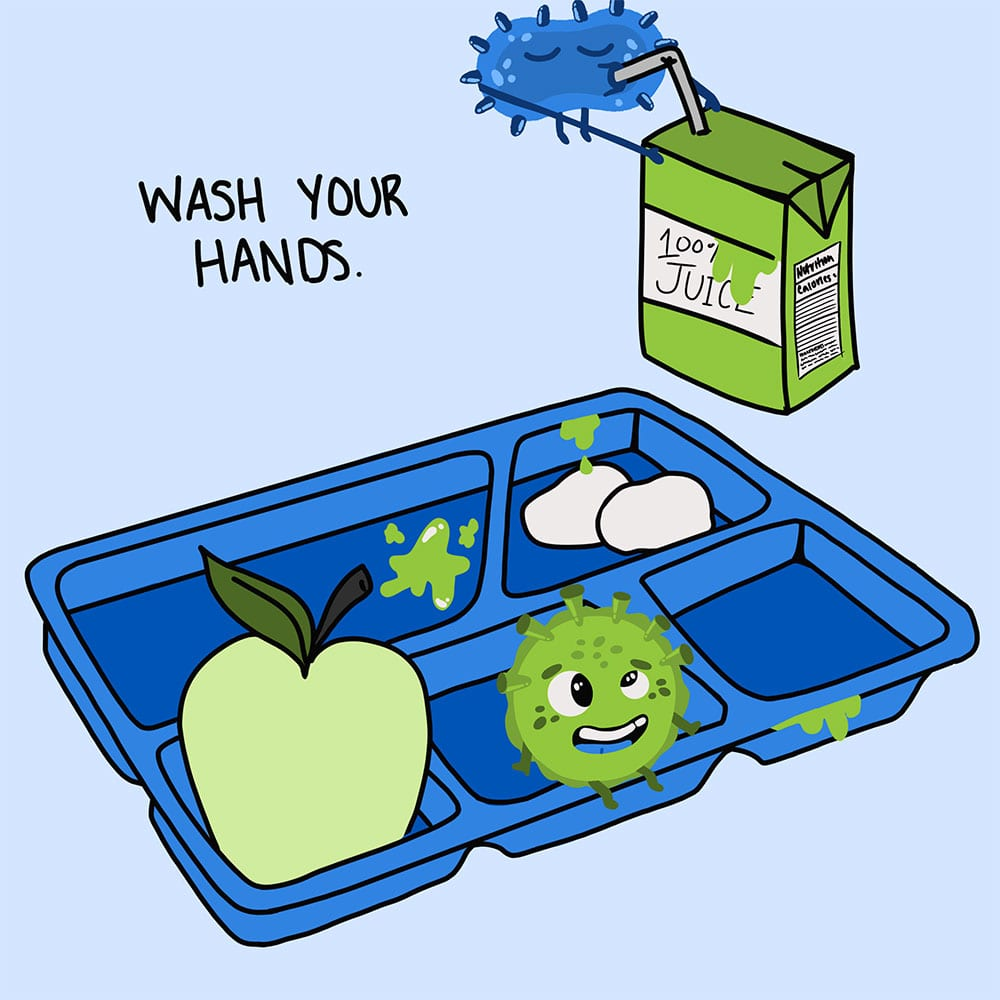 Wash your hands - germs eating school cafeteria food